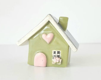 Little Clay House Whimsical Sage Green House with a Blush Pink Door | Ceramic Fairy House Gnome Home | Whimsical Terrarium Decoration