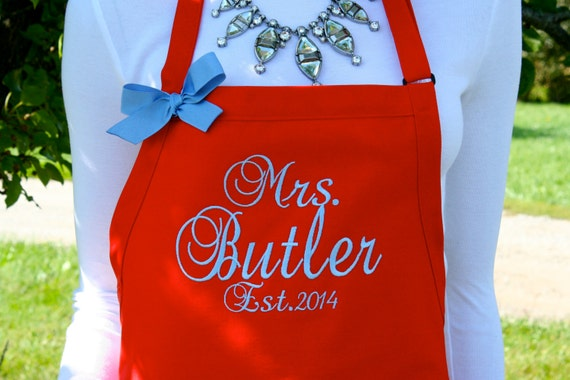 """3 pocket Red Raspberry apron w Baby Blue thread (24""""L x 28""""W) monogram. Personalize with or without a bow! Wedding gift. Christmas gilt."""