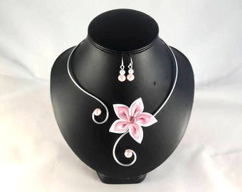 """""""Vic"""" white and pink flower set - customizable"""