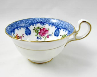 Aynsley Orphan Tea Cup, with Blue Border and Flowers, Replacement Tea Cup, Teacup ONLY, No Saucer