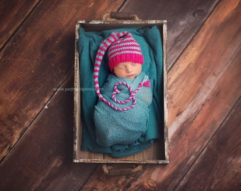 Newborn Girl Knit HaT BaBY PHoTO PRoP Hot Pink Aqua STRiPE Long Tail Stocking Cap CHooSE CoLOR Elf Pixie Beanie Coming Home Munchkin Toque