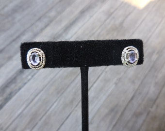 Vintage 1990s Oval Sterling Silver Light Amethyst Post/Pierced/Stud Earrings 925 Rope Look Edging Twisted Small February Birthstone
