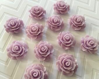 Flower Magnet or Thumbtacks Set of 12 - Light Purple Roses - , dorm decor, hostess gift, weddings, bridal shower, baby shower, gift
