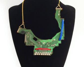 Necklace, recycled circuit board, gift for her, geeky jewelry, minimal, nerd, techie, computer, engineer, handmade, modern, industrial