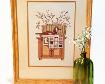 Vintage Cross Stitch Shabby Home Decor, Wall Hanging