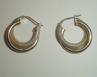 Silver earrings textured hoops hoop earring sterling vintage