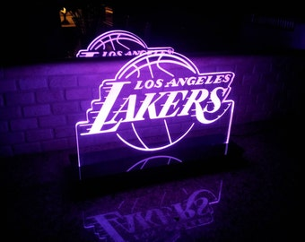 Los Angeles Lakers NBA Multi color LED Sign with Remote Control -  Made In USA!  -  Great for a Bar - Pub - Man Cave - Game Room - Club