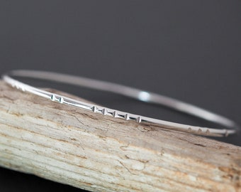 Stacker Bangle. Sterling Silver. Hammered Texture. Organic Silver. Bracelet. Stacking Bangle. Boho Jewelry. Silver Jewellery. Minimalist.