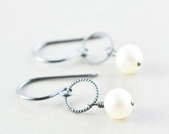 Pearl Earrings, June Birthstone Earrings, White Pearl Earrings