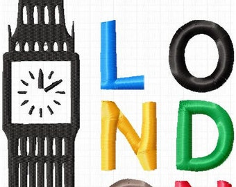 London embroidery file 18x13cm instant download