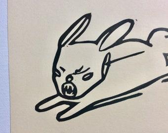 Bunny (original block print on cream cardstock)