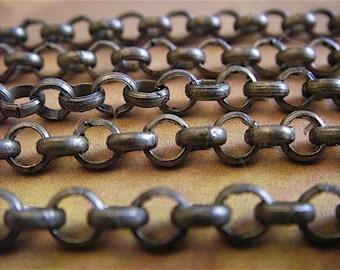 Jewelry supply - Rolo Chain - Artemus Gordon - 10 Foot - Steampunk - Rustic - Antique Bronze Cross Chain