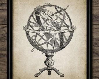 Armillary Sphere Print - Celestial Longitude - Spherical Astrolabe - Armilla - Armil - Single Print #409 - INSTANT DOWNLOAD