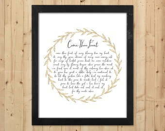Come Thou Fount Printable Gold Wall Art / Christian Wall Decor / Come Thou Fount Print / Downloadable Prints / Gift for Pastor