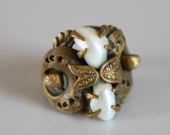 reserved for Marcia... Art Deco brass ring / vintage filigree ring / vintage pearl ring / brass filigree ring with pearls / 1940s / size 7