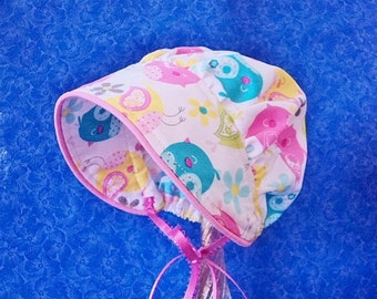 Handmade Infant Baby Bonnet with Birds Piping and a Straight Brim Spring Bonnet