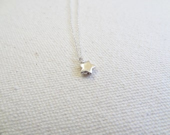 Wish - solid sterling silver star necklace - minimal jewelry - gift for her - valentines day - delicate - tiny