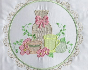 Machine Embroidery Design-Tea Time #01 with 3 sizes Included!