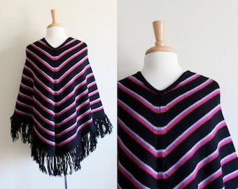 Vintage 1960s Barabra Lee Black Stripe Wool Poncho / 1960s Poncho
