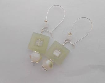 Square 20 mm Jade and Jade button, 925 Sterling Silver earrings