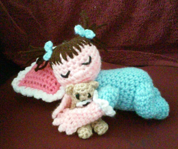 Items Similar To Crochet Sleeping Baby With Bear And