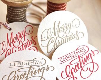 Décoration de table de Noël, huit à la main en lettres Noël typographie Coaster votre choix de combinaison de couleur rouge, vert, argent ou or