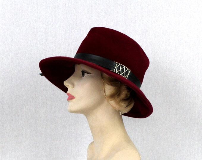 Magenta Pink Felt Panama Hat - Vintage 1970s Pink Womens Leather Tassel Fedora