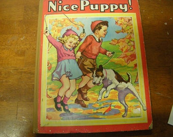 vtge book-Nice Puppy-children book-copyright 1943-child library-child story-