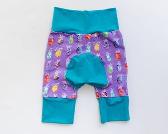 Pineapples and Teal/Eggplant Baby Big Butt Shorts - Grow with me shorts - Cloth diaper friendly - Toddler - Gift