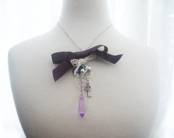 Necklace purple silver charms, lace satin bow, teardrop crystal, beads,pendant, pearls,chains,gift