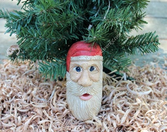 15 - Hand Carved Santa Ornament, Light Weight, Christmas Tree Ornament, Hand Painted Carving, Hand Carved from Northern Basswood, Folk Art
