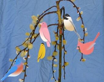 Paper Bird Ornaments Cardinal Party Decor Nature spring decor bird art home decor red yellow purple chickadee blue bird Mothers Day