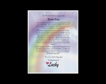 RAINBOW Bridge Pet MEMORIAL POEM pet Loss dog cat personalized customized name w heart fits 8x10 frame Sympathy Gift for a special pet lover