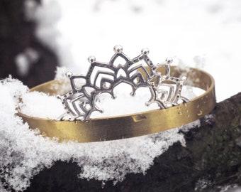 Harmony Mandala Bracelet/ Sterling Silver Mandala Bracelet/ Brass Cuff Mandala/ Mixed Metal Mandala Cuff Bracelet