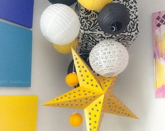 Black Yellow, and white with patterns/lace Large Paper Lantern Balloon Mobile