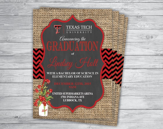 Any EventColor TEXAS TECH GRADUATION Announcement Party