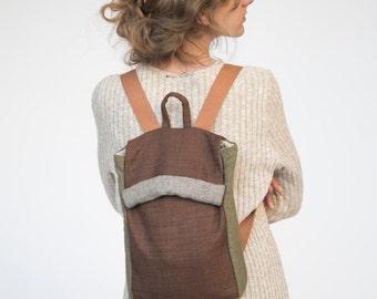 Laptop Backpack, Natural Backpack, Brown Backpack, Green Backpack, Canvas Backpack, Fabric Backpack, Vegan Backpack, Back to School