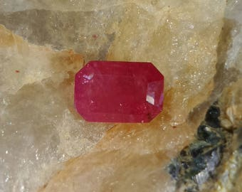Ruby (unheated and untreated) from Tanzania, emerald cut, 1.3 cts