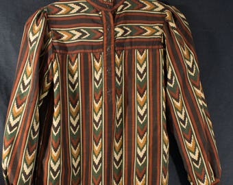 """Vintage 1970s """"Act III"""" label Ethnic Print Western Disco Blouse, Union Made"""