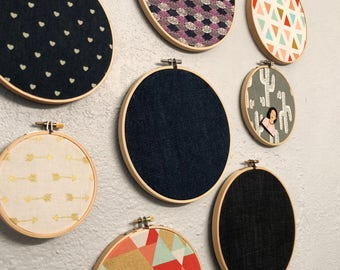 Enamel pin badge display holder - fabric embroidery hoop now w/ optional corkboard backing
