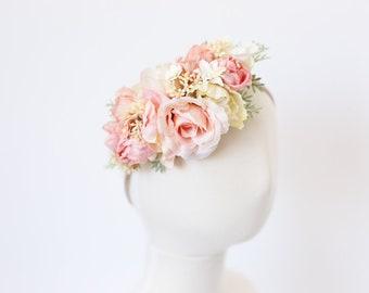 girls headband, floral toddler headband, baby flower crown headband, pastel floral headband, floral crown toddler, baby headband, photo prop
