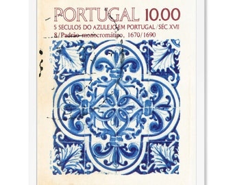 Portugal International Postage Stamp Art Print, Blue and White Fleur De Lis Portuguese Tile Pattern Vintage Wall Art for a Stamp Collector