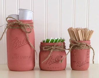 Mason Jar Storage, Red Canister Set, Coffee Canister Set, Kitchen Storage,  Red