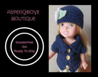 14 inch doll handmade navy Sweater hat set Ready to ship