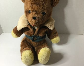 Teddy Bear Brown With Bomber Jacket (rare) Vintage 1970 Plush Stuffed Animal, Vintage Animal, Vintage Plush, Vintage Toy, Collectors Item