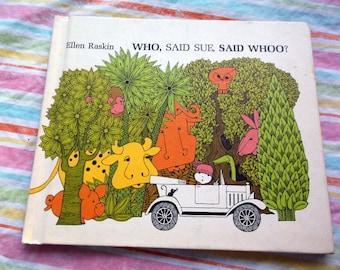Vintage 1973 children's book Who, Said Sue, Said Whoo? by Ellen Raskin Weekly Reader Book Club