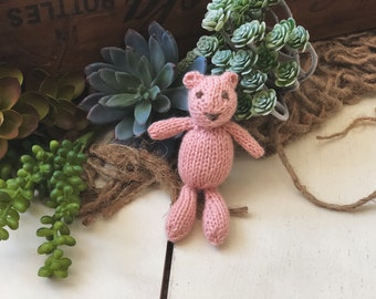Tiny Knit Bear Stuffed Animal Lovie Newborn Photography Prop