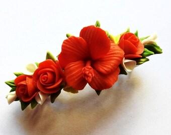 cold porcelain flower Barrette