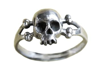 Skull Ring     Sterling Silver Gold Bones Jewelry