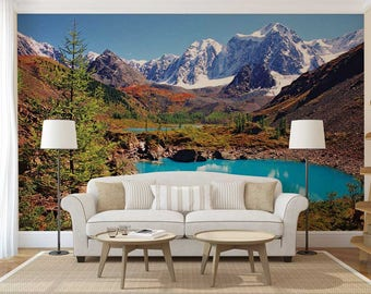 Peel And Stick Wallpaper Blue, Wallpaper Lake, Blue Lake Wall Decal, Custom Wall Mural
